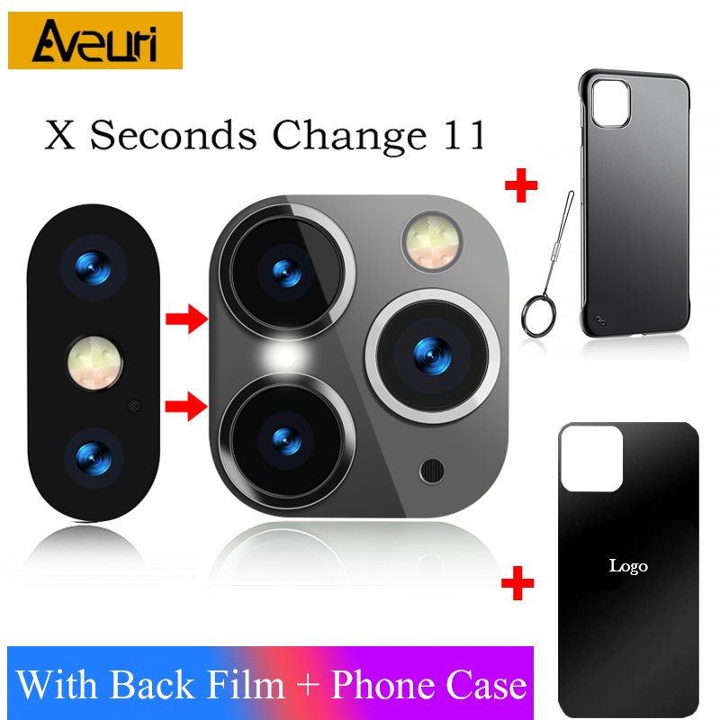 Luxury Sticker Camera Lens Seconds Change For iPhone X XS MAX Glass Protector Cover to For iPhone 11 Pro Max Sticker Fake Camera|Phone Screen Protectors| |  -