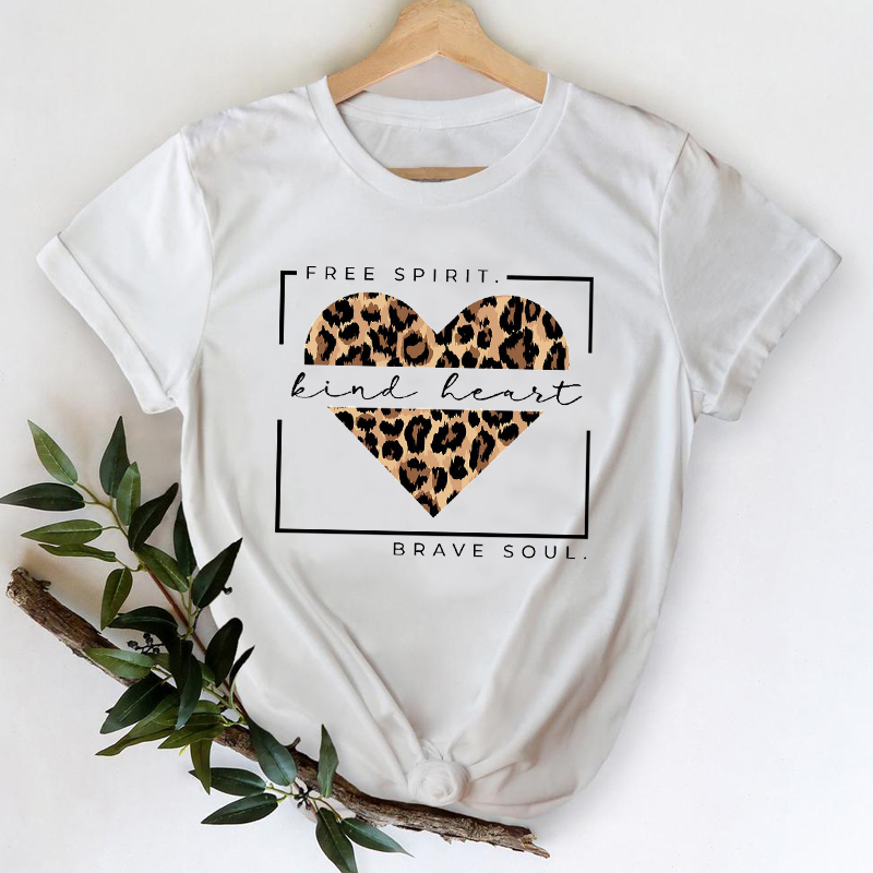T-shirts Women 2021 Leopard Heart Casual 90s Fashion Trend Printing Clothes Graphic Tshirt Top Lady Print Female Tee T-Shirt