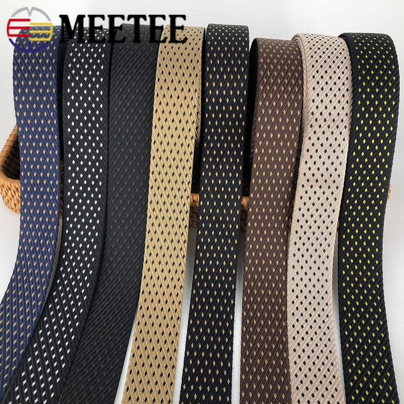 Meetee 8M 38mm Polyester Nylon Jacquard Webbing Tactical Belt Outdoor Canvas Webbing Tape DIY Clothing Luggage Decor Accessories