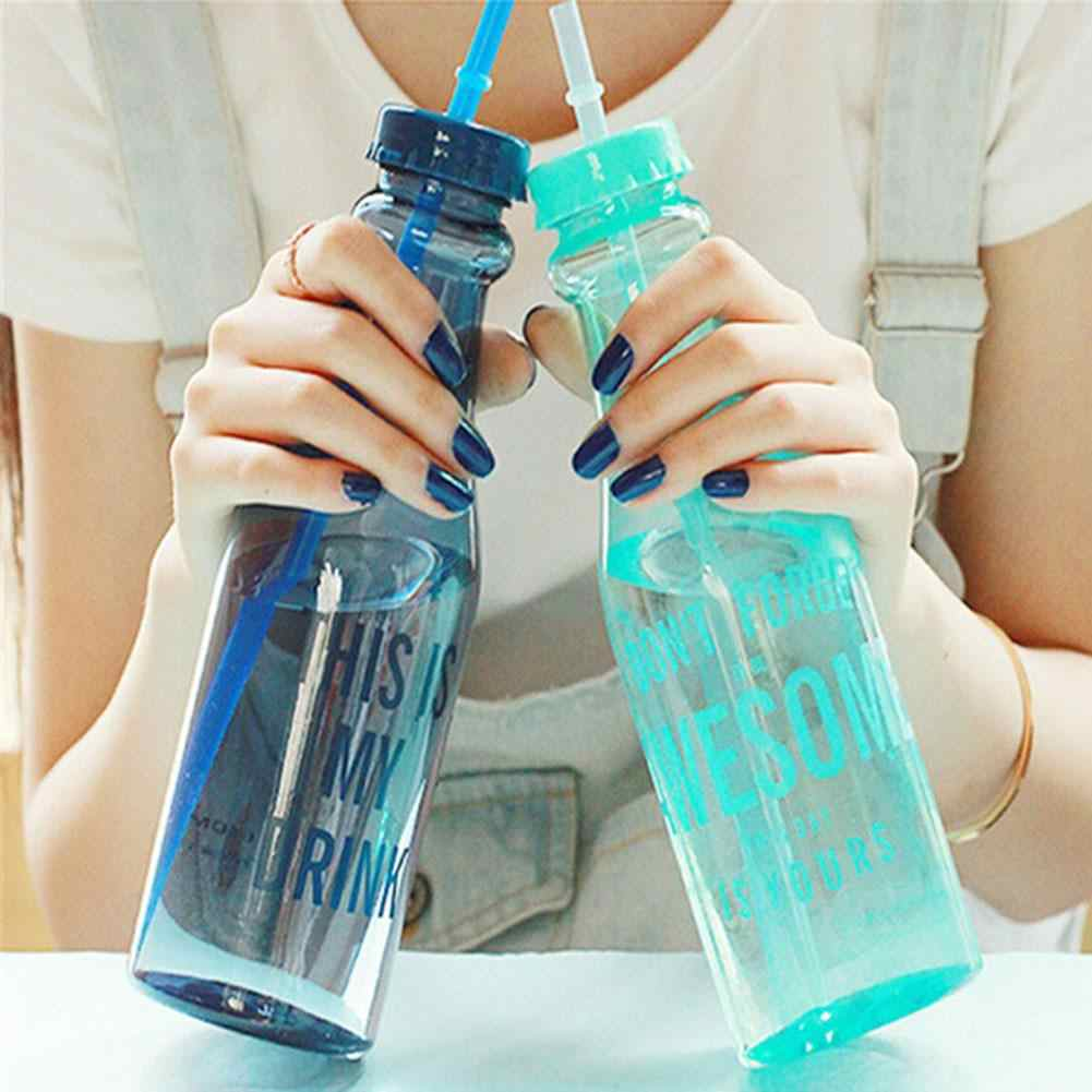 650ml Draagbare Sport Plastic Dual Deksel Stro Fles Drinkwater Cup
