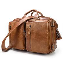 Vintage Genuine Leather Men Solid Zipper Real Leather Bag Laptop Shoulder Bag Leather Man Bag Genuine Leather cheap Cow Leather Interior Zipper Pocket Interior Compartment Soft Handle Silt Pocket