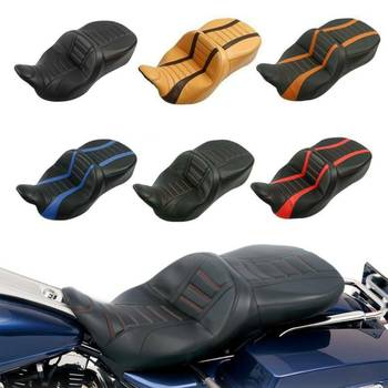 Motorcycle PU Leather Rider Driver Passenger Seat For Harley Touring Road King Road Glide Street Glide CVO FLHR 2009-2020