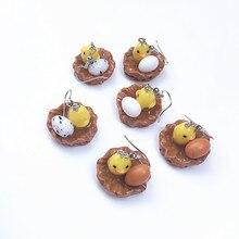 Funny Earring women2020 creative handmade chicken nest egg resin yellow white original exaggerated ear clip