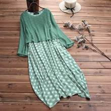2021 ZANZEA Casual Autumn Summer Two Pieces Vintage Dress Women Polka Dot Plus Size Long Sleeve Maxi Long Dresses Tops Vestidos