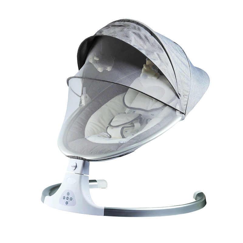 เปลโยกเด็กทารกสไตล์ใหม่สมาร์ทบลูทูธไฟฟ้า Cradle เตียง Music Swing ทารกแรกเกิด Shaker