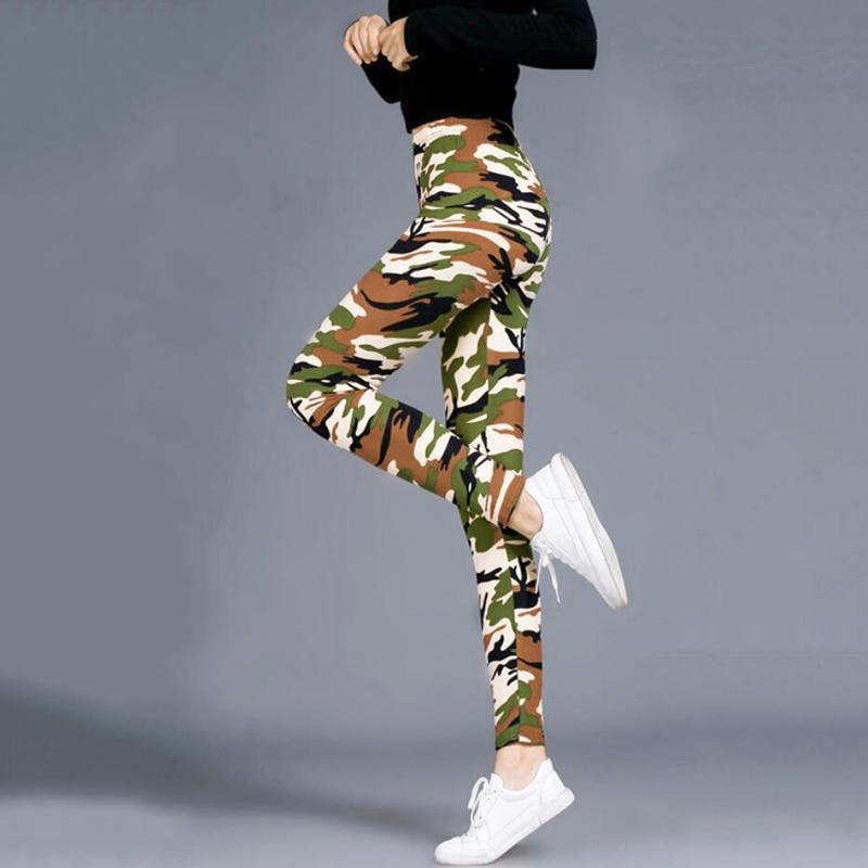 CHSDCSI Fashion Printed Camouflage Leggings High Waist Army Women Pants Running Sports Camo Activewear Female Large Size Legging