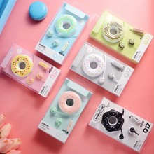Mignon beignets Macaron écouteur 3.5mm dans loreille stéréo filaire écouteurs avec micro écouteur étui pour enfants filles MP3 cadeaux pour IPhone Xiaomi