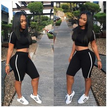 Black Trim Skinny Tracksuit Women Casual Short Sleeve T Shirt Crop Top With Shor
