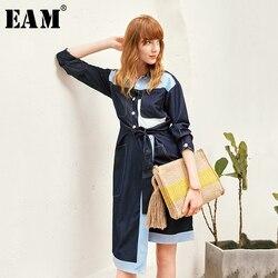 [EAM] femmes Patchwork Hit couleur tempérament robe nouveau revers cou à manches longues coupe ample mode marée printemps été 2020 1X461