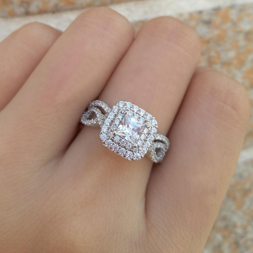 Newshe solide 925 en argent Sterling anneaux de mariage pour les femmes Double Halo princesse coupe AAA Zircon bague de fiançailles ensemble de mariée BR0979 4