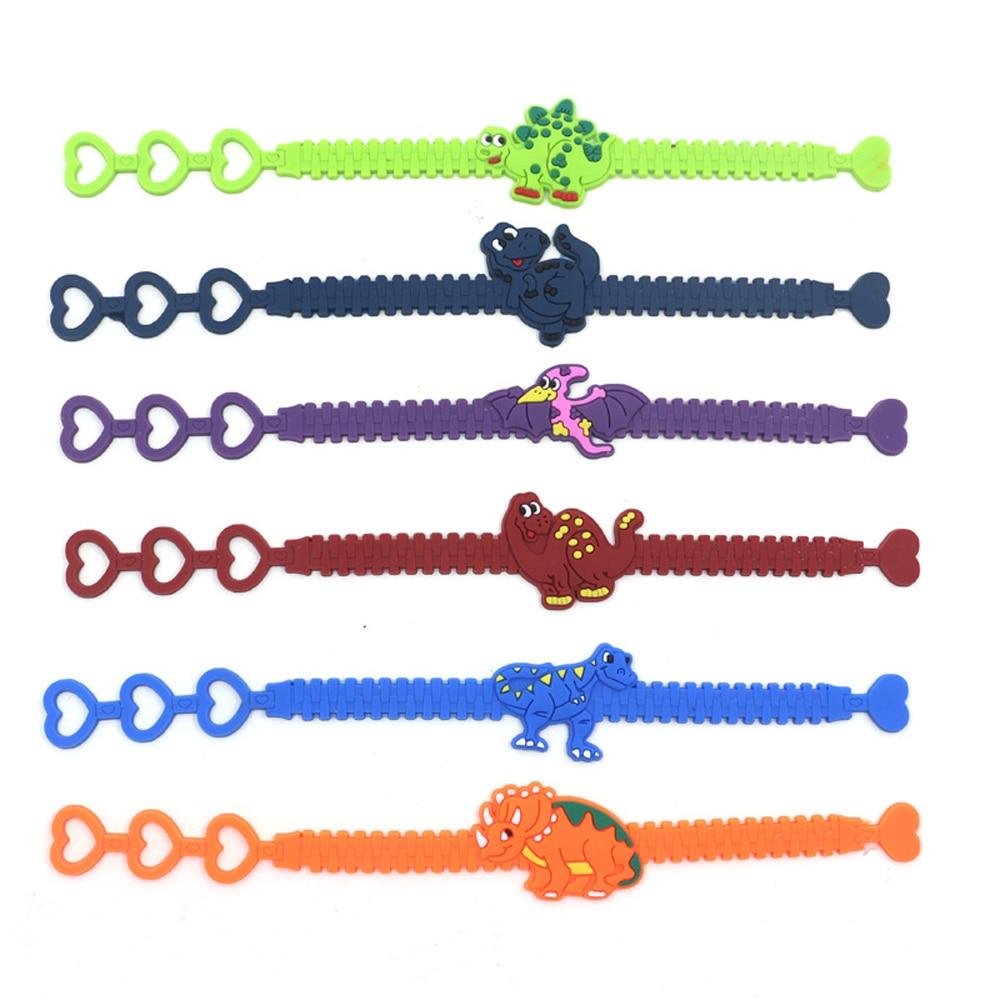 12pcs/set Rubber Dinosaurs Bracelets Toys For Children Dinosaur Wristband Adjustable Bracelet Kids Party Decoration Supplies