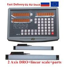 Lecture numérique DRO 2 axes avec 2 pièces, échelle linéaire/encodeur linéaire/règle linéaire pour fraiseuse de 50 1020mm