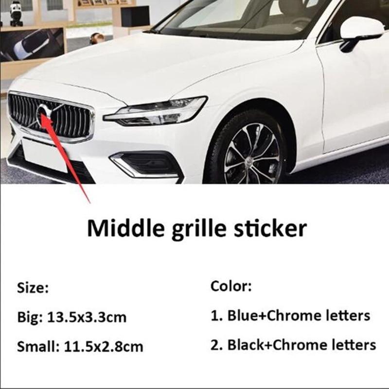 Черная синяя наклейка с эмблемой, хромированные буквы, логотип, передняя средняя решетка, автомобильные аксессуары для S60 S60L C30 S80 S40 V40 V60 XC90 ...