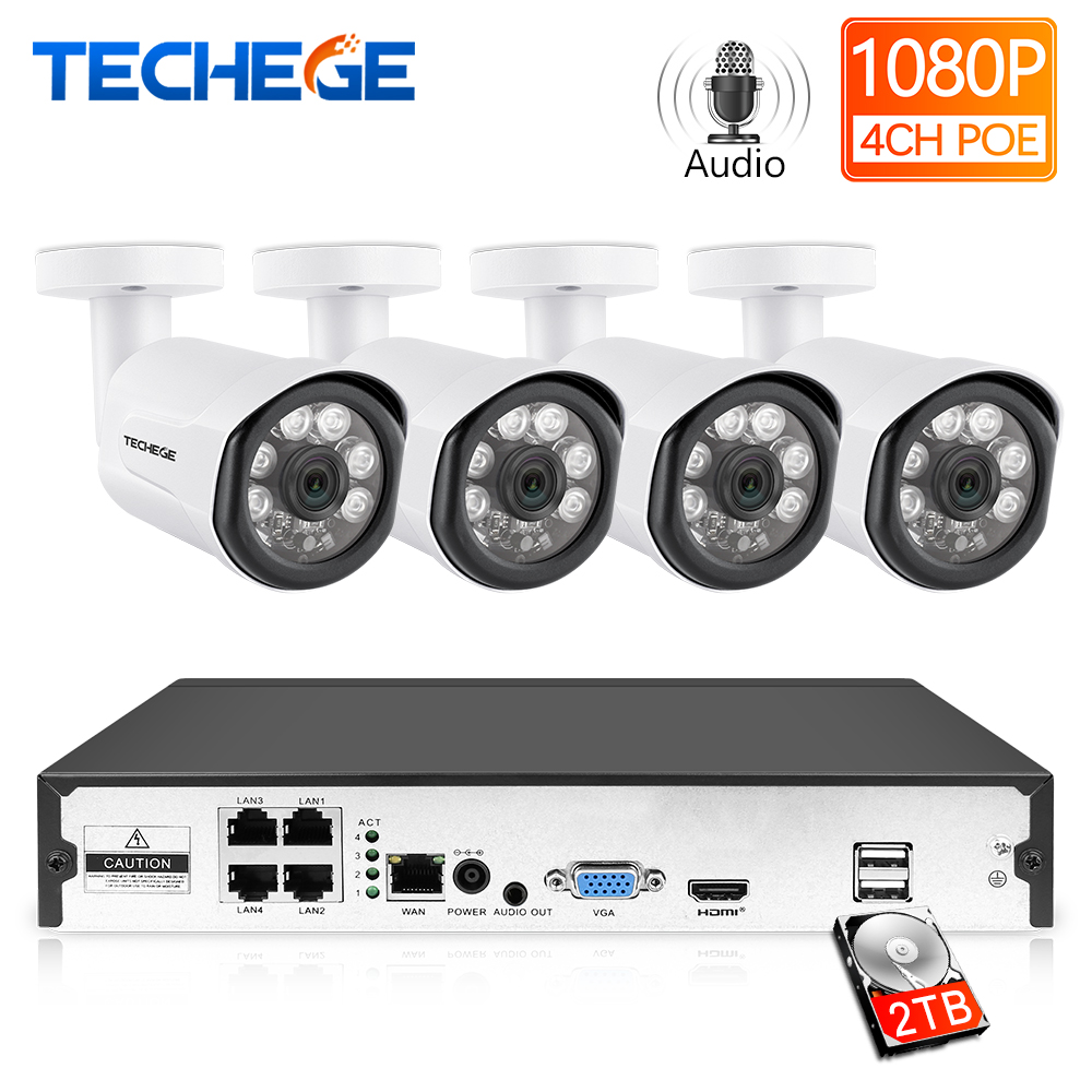Techege Full HD 1080P H.265 4CH CCTV System 4pcs 2MP Metal Outdoor IP Camera Audio Record 4CH 1080P POE NVR CCTV Kit Email Alarm