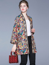 Multicolor Print Designer Fashion Trend Coat Femin