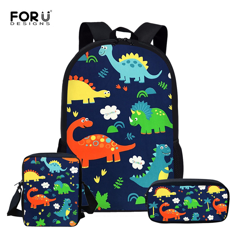 FORUDESIGNS Cartoon Dinosaur School Bags For Girls Kids School Backpack 3pcs/set Children Schoolbags Orthopedic Girl Backpacks