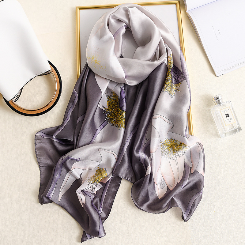 Floral Print Shawls And Wraps For Women Silk Scarves 2020 Spring New Fashion Pashmina Thin Smooth Long Scarf Large Size Hijab