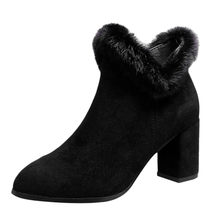 warm fur plush Insole shoes woman Suede Pointed Boots Square root Tassel Ankle Boots sexy Ladies Side Zipper High Heeled Shoe(China)