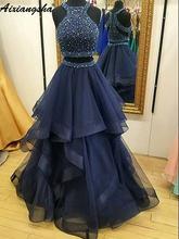 Двойка Темно синие Выпускные платья Бисер с украшением в виде