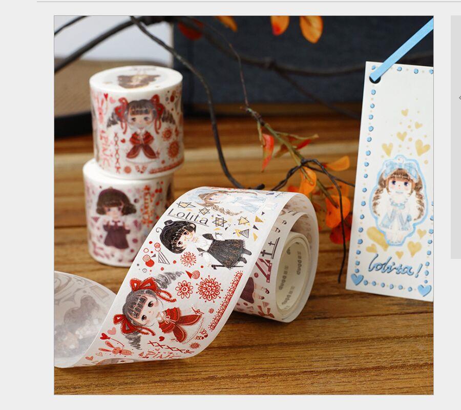 45mm Lovely Girl Beautiful Skirts Lolita Long Hair Girl Specail Oil Washi Tape DIY Planner Diary Scrapbooking Masking Tape