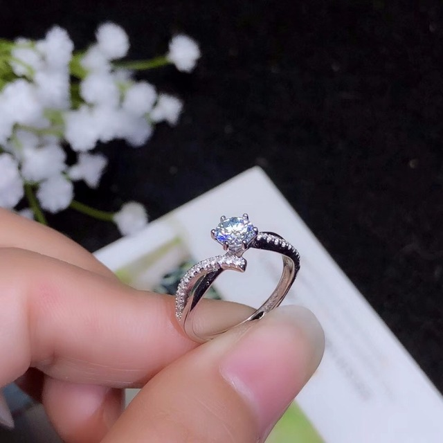 Moissanite 925 real silver high density gemstones comparable to diamonds resizable rings for women 3