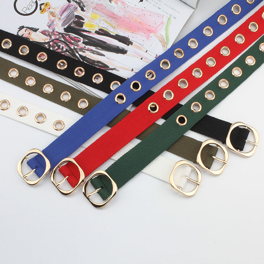 120cm New Designer Harajuku Wide Canvas Web Double Grommet Hole Buckle Belt Female Male Waist Strap Belts For Women Men Jeans