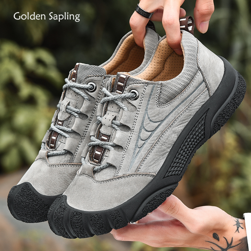 Golden Sapling Genuine Leather Men's Hiking Shoes Soft Rubber Outdoor Mountain Trekking Sneakers Men Breathable Gray Ankle Boots