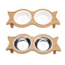 Для питомца шеи здоровья домашних животных Кормушка миски собака кошка подача воды пищи двойная миска бамбуковая противоскользящая керамическая/нержавеющая сталь посуда