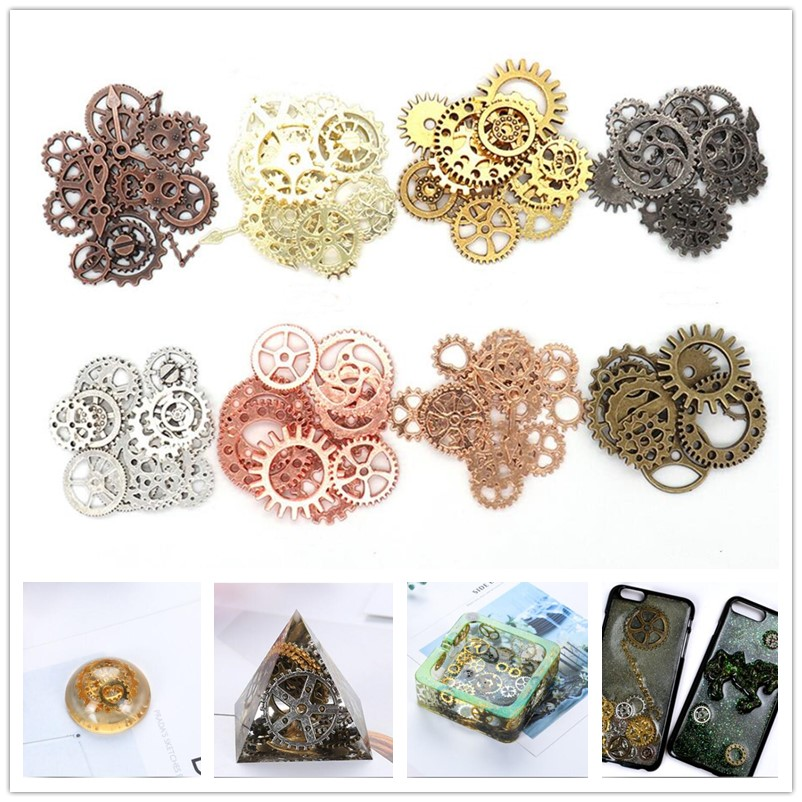 100g/lot ampunk alloy mechanical watch core gear mixed DIY jewelry accessories Epoxy mobile phone case gear 8 colors