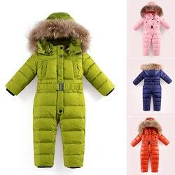 Baby Siamese Unten Jacke kinder Feste Farbe Unten mantel Jungen Dicken Ski Anzug Mädchen Winddicht Wasserdichte Unten Jacke Natürliche pelz