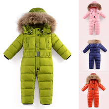 kids Siamese Down Jacket Boys blue windproof ski down jacket Girls pink jumpsuits Baby warmth thick winter long coat