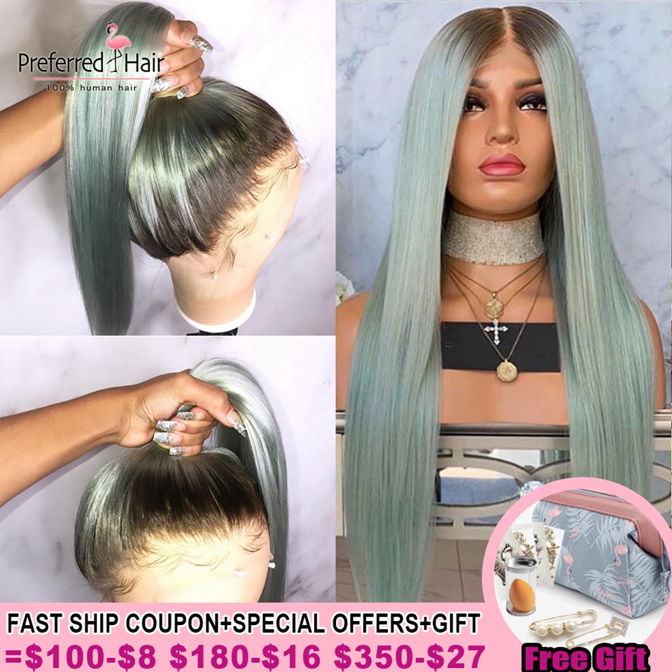 Preferred Pre Plucked Mint Green Lace Front Wig Orange Ombre Human Hair Wig Brazilian Remy Transparent Lace Wigs For Women