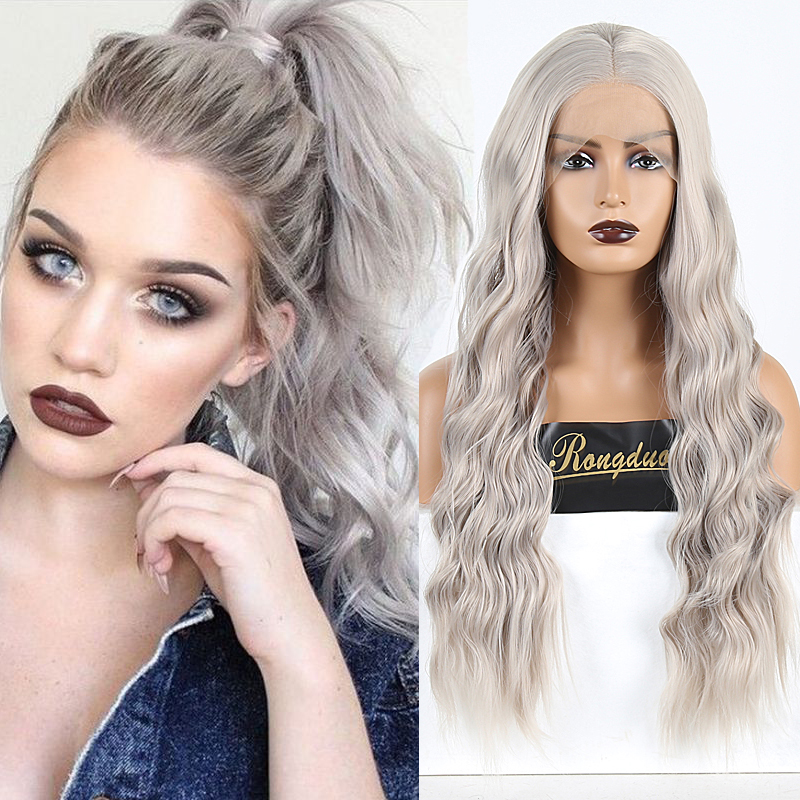 RONGDUOYI Light Gray High Temperature Fiber Hair Wigs Synthetic Lace Front Wig Natural Wave Long Cosplay Lace Wigs For Women