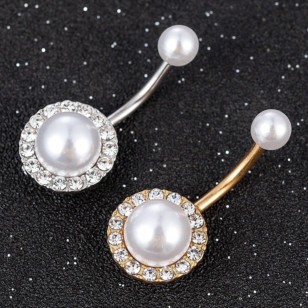 New Fashion Women Girl Crystal Rhinestone Tassel Imitation Pearls Dangle Button Belly Ring Bar Body Piercing Jewelry| |   - AliExpress
