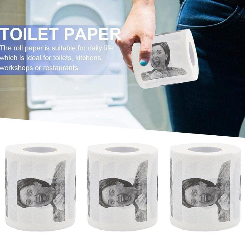 1 Roll Printed Toilet Paper Hillary Pattern Printed Humour Toilet Paper Pure Wood Pulp Soft Paper Gift Bathroom Paper