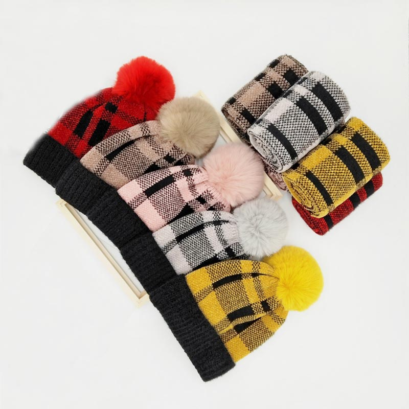 Doitbest 4 To 10 Years Old Kids Beanie Scarf Sets Fur Grid Velvet 3 Pcs Boys Girls Winter Knitted Hat Scarf Glove Set