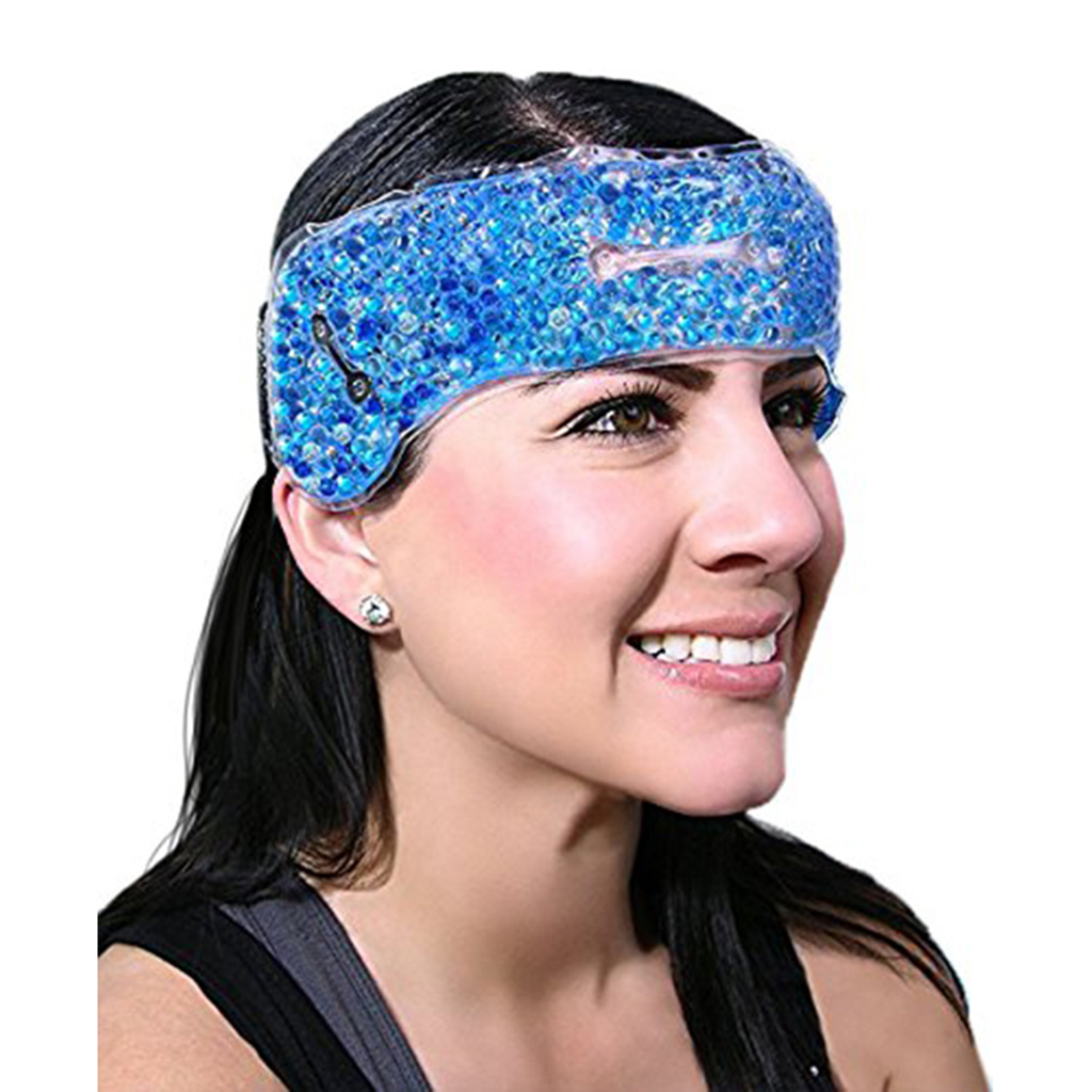 Reusable Head Gel Ice Packs, Migraine Relief Cold Pack & Strap For Hot Cold Compress & Adjustable Backing For Headache Pain Ease