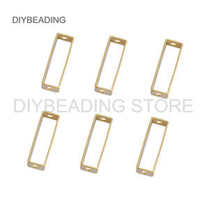 20-1000 Pcs Brass Cuboid Charms Finding Hollow Rectangle Geometric Link Connector Bar