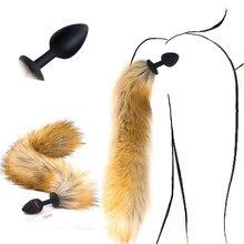 Plugue anal de silicone para adultos, plugue anal de rabo de raposa com dilatador anal e produtos para adultos brinquedos sexuais
