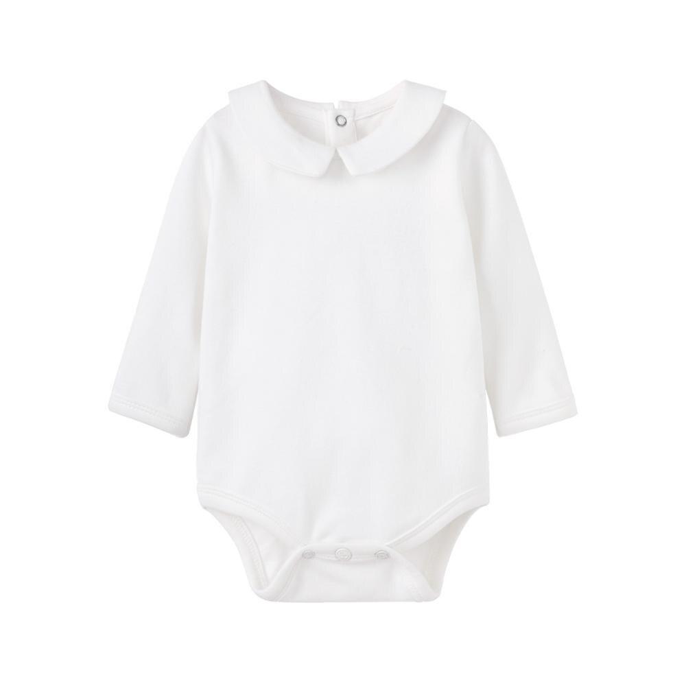 Комбинезон для новорожденных Pureborn однотонный базовый детский комбинезон с длинным рукавом воротник Питера Пэна хлопковый комбинезон для к...