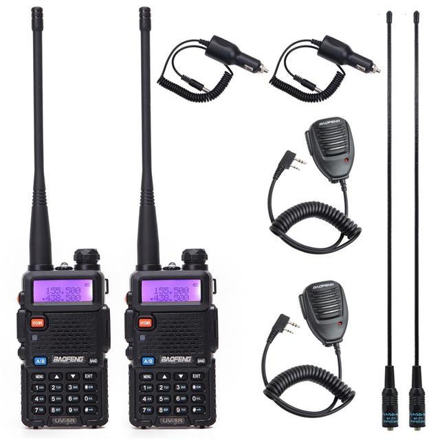 2 pcs baofeng walkie talkie uv 5r dualband rádio em dois sentidos vhf/uhf 136 174 mhz & 400 520 mhz fm transceptor portátil com fone de ouvido