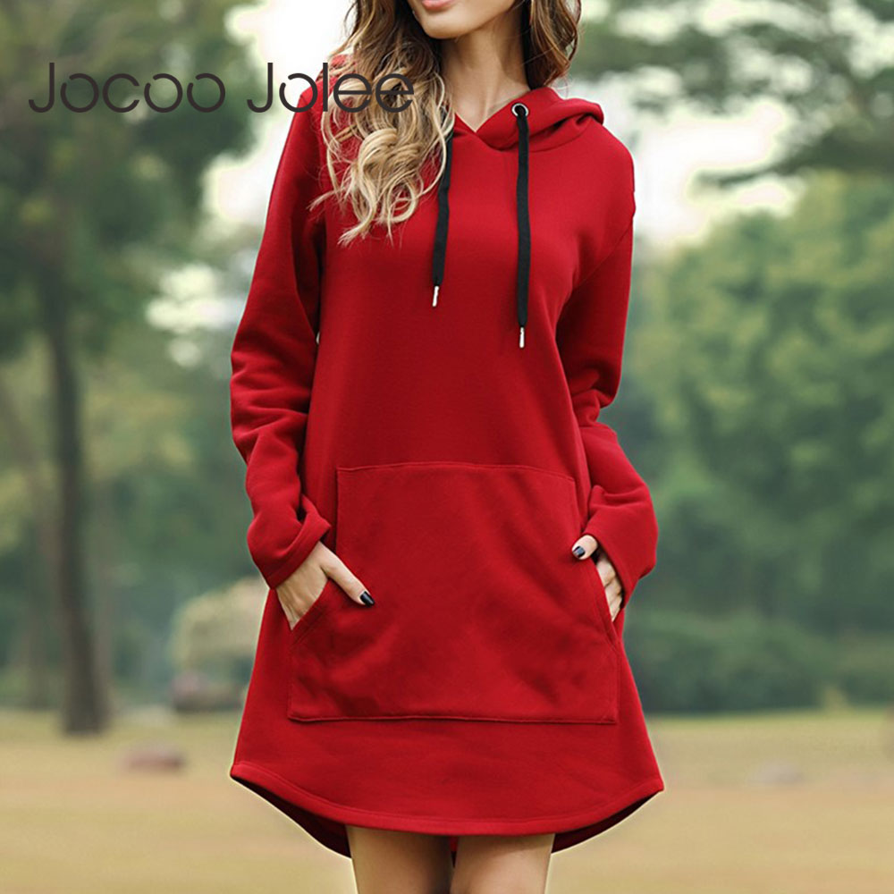 Jocoo Jolee Women Spring Solid Hoodies Casual Long Style Sweatshirt Casual Pocket Oversized Hoodie kpop Hoody Dress Pullover