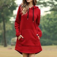 Jocoo Jolee Women Spring Solid Hoodies Casual Long Style Sweatshirt