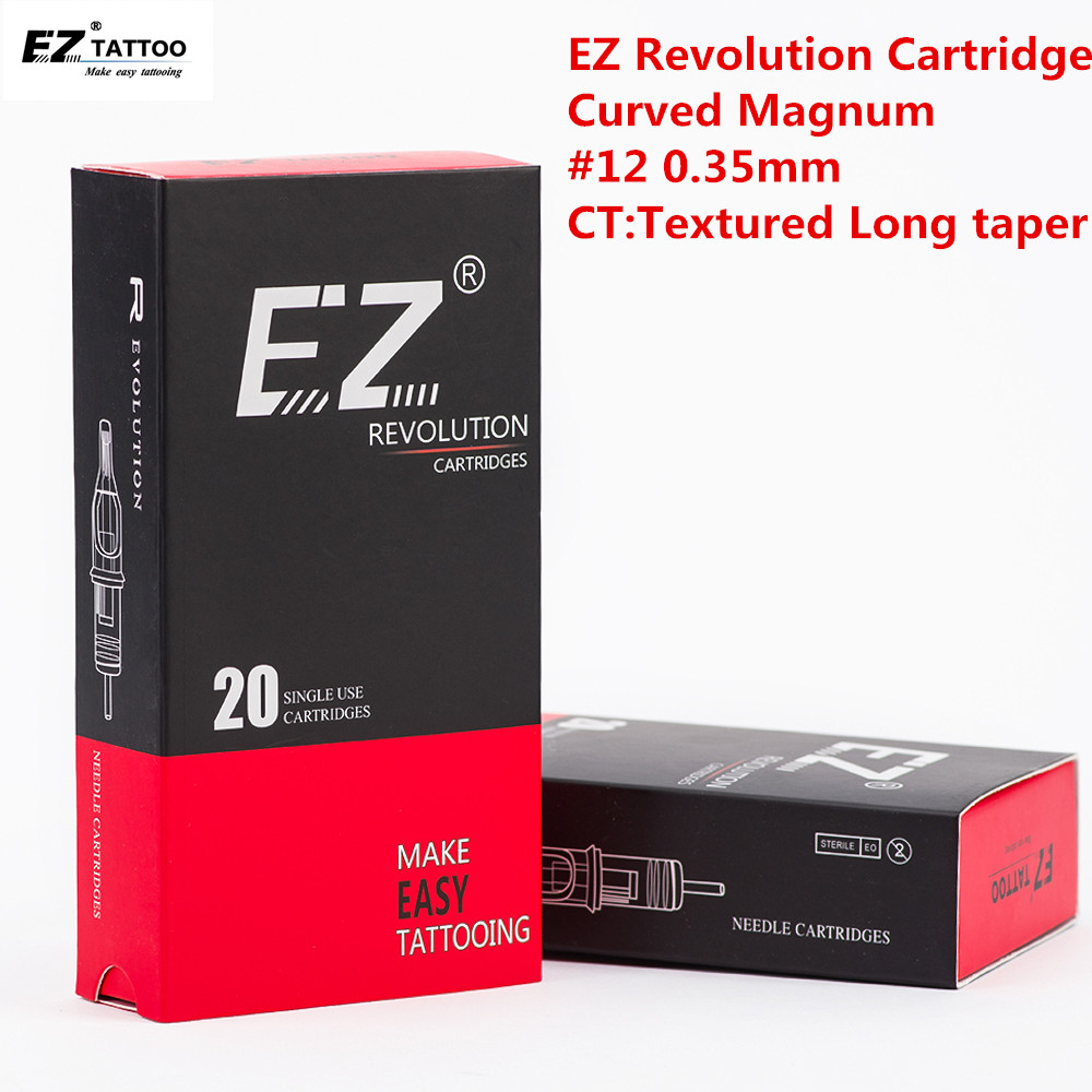 EZ Revolution Tattoo Needles Cartridge Curved Magnum #12 0.35mm Textured Long Taper 5.5mm Safety Membrane Inside 20 Pcs /box