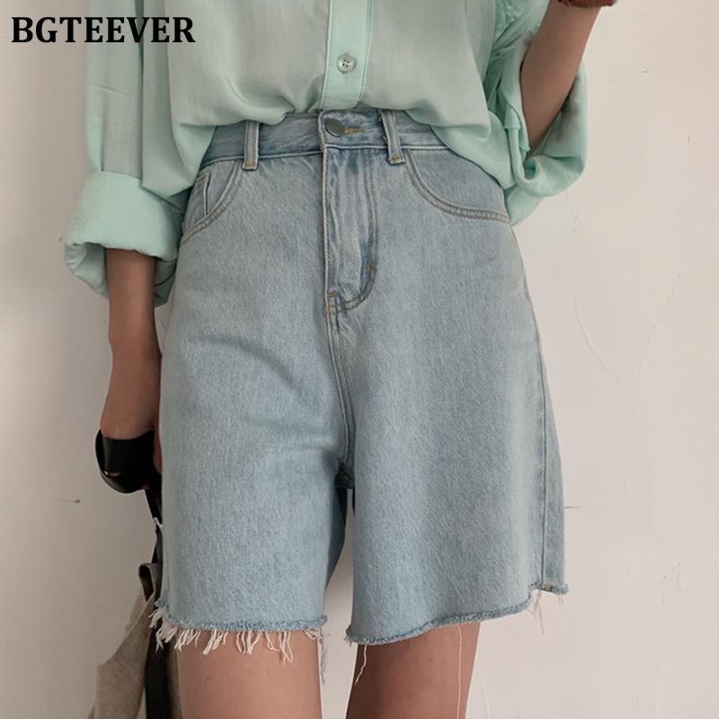 BGTEEVER Summer Loose Tassels Hem Denim Shorts For Women Casual Light Blue High Waist Wide Leg Short Jeans Female 2020