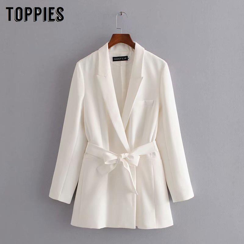 White Suit Jacket 2020 Spring Women Long Blazer Notched Collar Belt Coat Elegant Ladies Fromal Suits