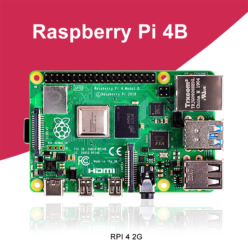 New Raspberry Pi 4 Model B 2GB RAM BCM2711 Quad core Cortex-A72 ARM v8 1.5GHz Support 2.4/5.0 GHz WIFI Bluetooth 5.0
