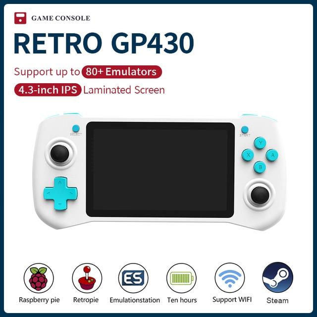 KinHank GP430 ريترو لعبة فيديو وحدة التحكم 4.3 بوصة IPS شاشة التوت Pi CM3 يده لعبة لاعب ل PS1/NDS/PSP مع 15000 ألعاب