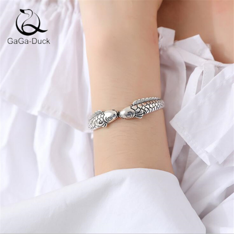 New Creative Exquisite Cute Fish Ethnic Style Retro Jewelry Bracelets 925 Sterling Silver Pisces Double Fish Bangles B49
