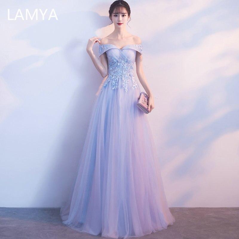 LAMYA 2020 femmes Appliques longues robes de soirée élégant grande taille bateau cou Banquet formelle robes de soirée vestido de festa longo